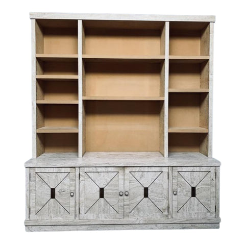 1970s Veneered Travertine Bookcase
