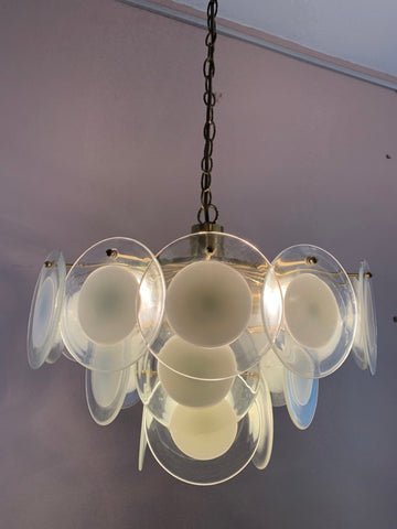 1970s Vistosi Style Hanging Glass Disc Chandelier </div>