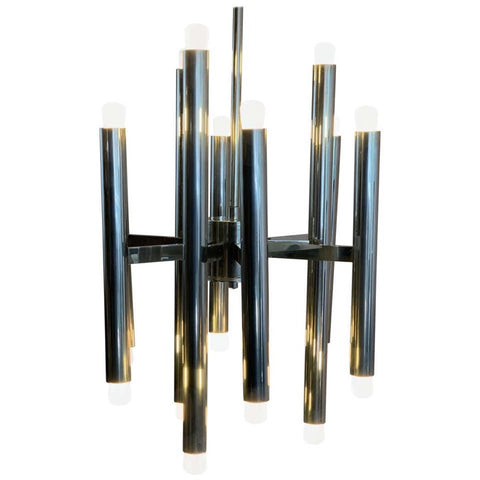 1970s Nine-Arm Tubular Sciolari Hanging Light