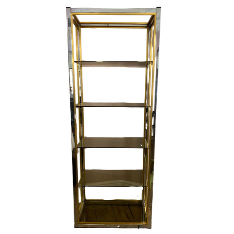 1970s Renato Zevi Brass and Chrome Étagères or Bookcase