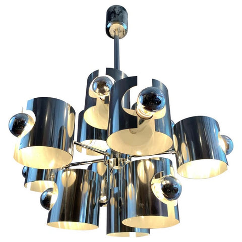 1970s Sciolari Abstract Chrome Ceiling Light
