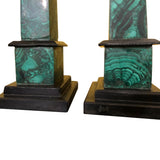 1970s Decorative Pair of Russian Malachite Obelisks