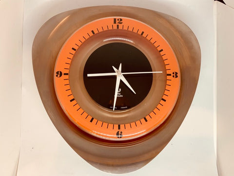 1970s Stainless Steel and Orange Jaz Transistor 'Noxic' Wall Clock