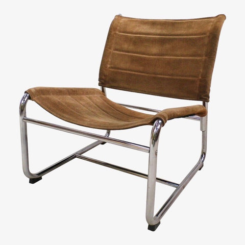 1970s Swedish Chrome & Suede Leather Lounge Chair