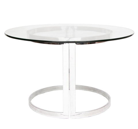 1970s Milo Baughman Chrome and Round Glass Dining Table