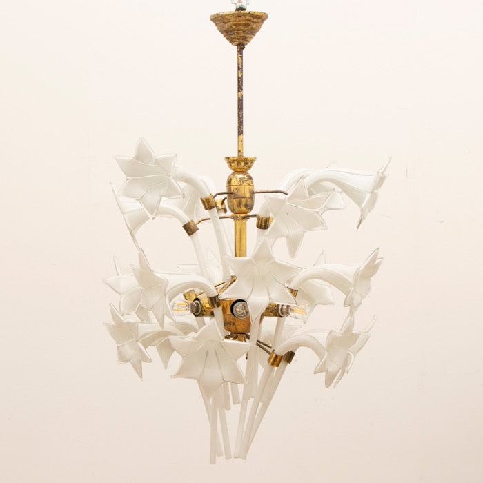 Floral Pink Murano Glass Chandelier, 1970s