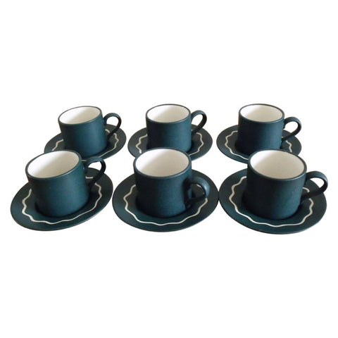 1970s Set of 6 Habitat 'Ripple' Coffee Cups and Saucers