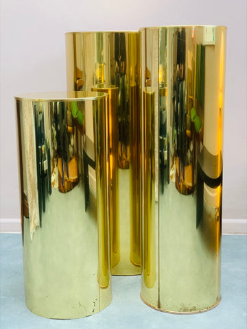 1986 Three Brass Cylindrical Pedestals by Curtis Jere for Artisan House
