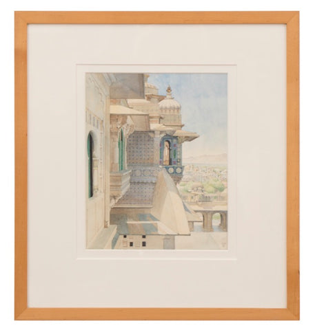 City Palace Udaipur Chandra Mahal by artist Ceri Shields.  Watercolour 1989