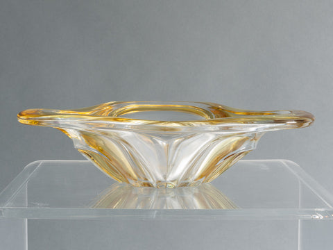 French Art Yellow and Clear Glass Bowl