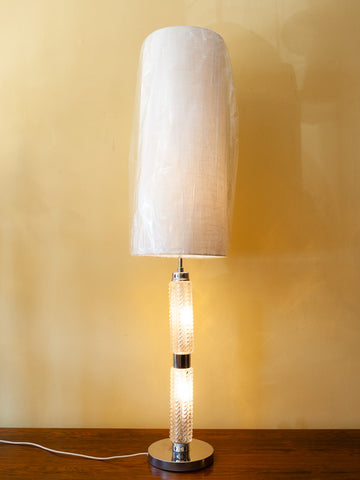 1970s Richard Essig Large Table Lamp with an Illuminated Glass Base