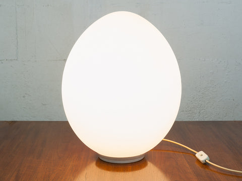 "1970s Laurel Frosted White Glass ""Egg"" Lamp"