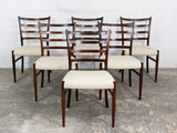 6 Danish Rosewood & Leather Dining Chairs