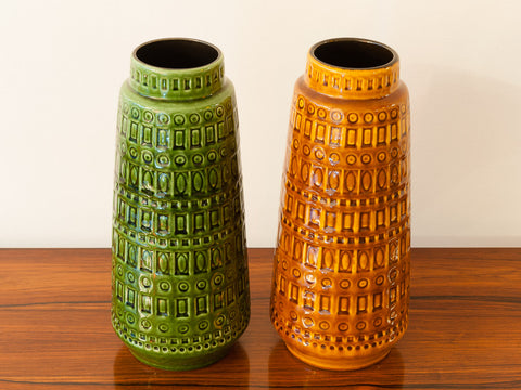 Pair of 1960s W. German Scheurich Inka Vases