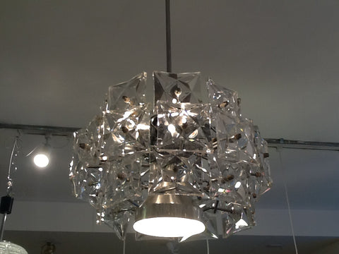 1960s Kinkeldey Three Tiered Prism Crystal Chandelier