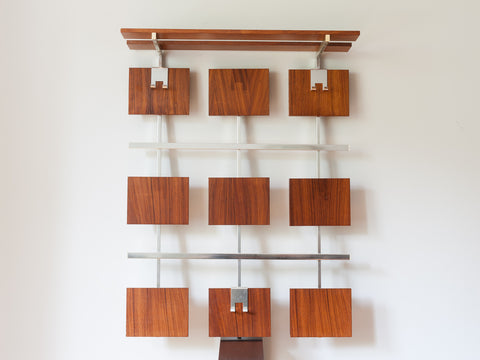 GERMAN WALL HANGING TEAK COAT RACK