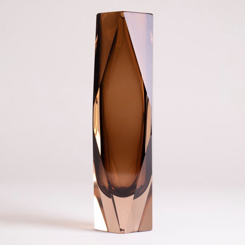 1960s Vintage Murano Brown Glass Faceted Geometric Vase