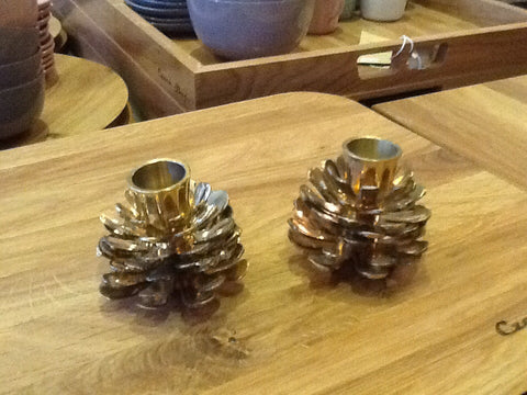 Pair of Solid Brass Vintage Pinecone Candlesticks