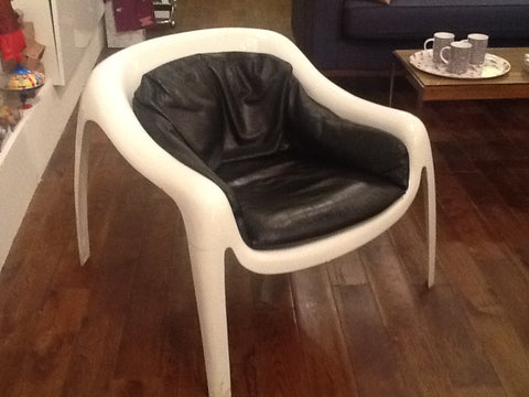 1960s Fibreglass and Leather Armchair