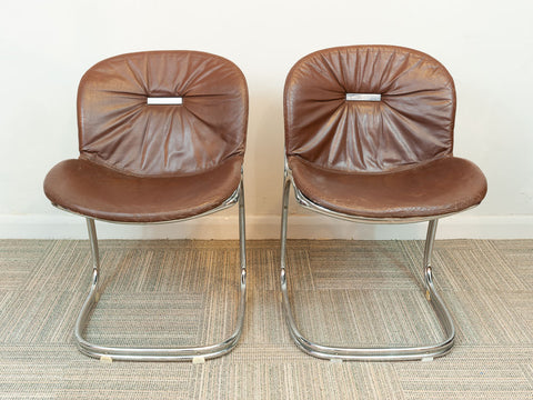 Pair of 1970s Sabrina Chrome and Brown Leatherette Chairs by Gastone Rinaldi for Rima