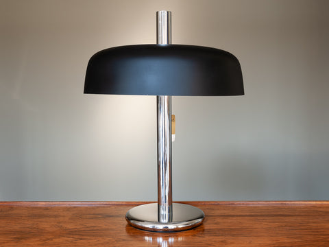 1960'S GERMAN BLACK & CHROME MUSHROOM HILLEBRAND DESK LAMP