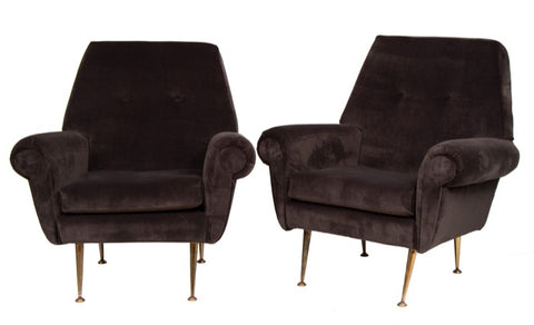 Pair of Italian 1950s Armchairs with Chromed Brass Legs