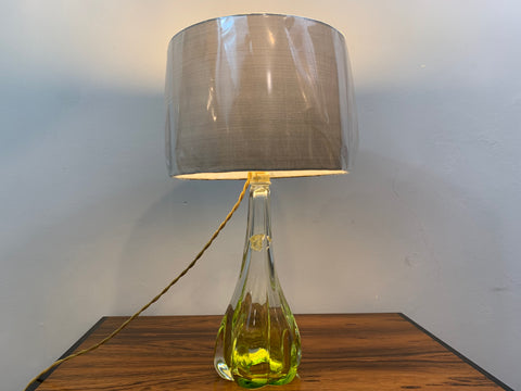 1950s Belgium Val St. Lambert Lime Green Table Lamp
