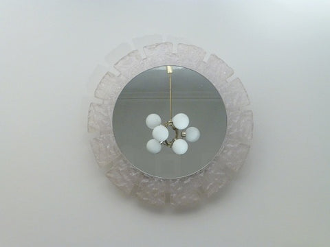 1970s Illuminated Hillebrand Frosted Circular Framed Lucite Wall Mirror