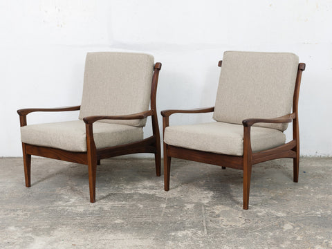 1960s Toothill Teak Armchairs In Dekoma Wool Biscuit Fabric