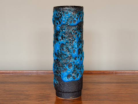 1960's West German Glossy Blue & Black Fat Lava Cylindrical Vase by Jopeko