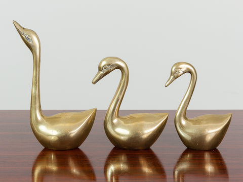VINTAGE BRASS SWAN FAMILY PAPERWEIGHT SET