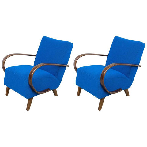 Pair of 1930s Art Deco Halabala Armchairs in Tibor Reich Fabric