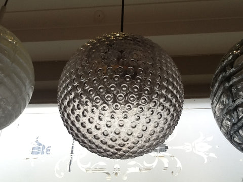 1970's Doria Handblown Dotted Grey Patterned Pendant Light