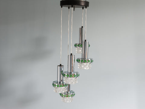 1970s 5 Tier Chrome and Glass Hanging Light