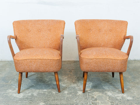 Pair of 1940s Vintage Cocktail Chairs in Astro Orange fabric