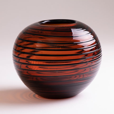 Vintage Polish Tarnowiec Amber Vase with Black Swirl Pattern Detail