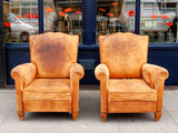 Pair of 1950's Moustache Back French Leather Club Chairs