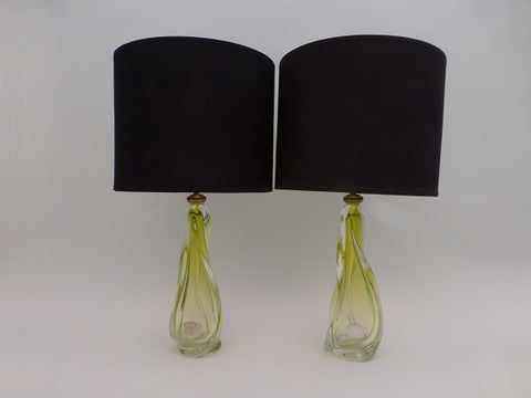 Pair of Val St Lambert Lime Lamp Bases