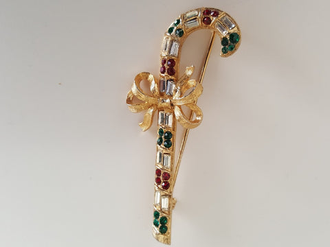 Vintage Christmas Weiss Jewelled Candy Stick