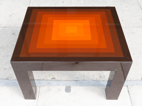 1970's Small Rectangular Multi-Coloured Brown and Orange High Gloss Coffee Table