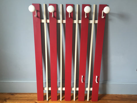 1960s Belgium Red and White Wooden Coat Rack