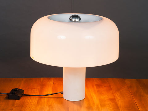 1960s White Mushroom Italian Table Lamp by Guzzini