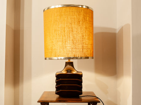 1970's Cari Zalloni 'Facette' Brown Pottery Table Lamp by Steuler of West Germany