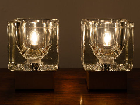 Pair of 1970's German Peill & Putzler Glass Cube Table Lamps