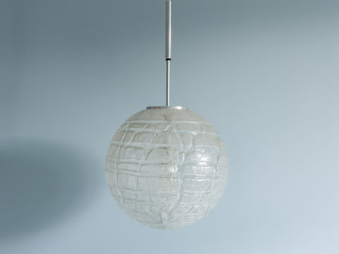 1970s Large Crackle Glass and Chrome Globe Pendant by Doria