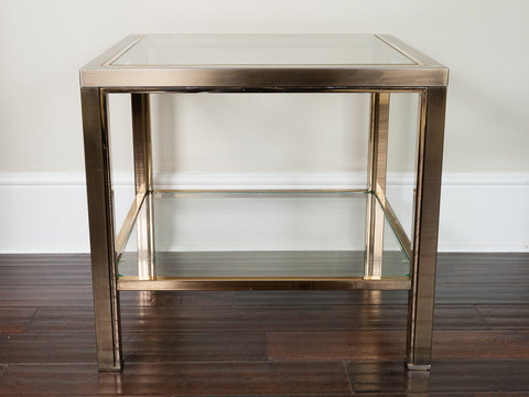 Vintage 1970s Belgium Brass & Clear Glass Square Coffee Table