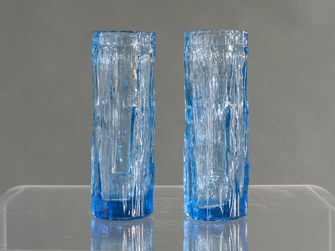 Pair of Whitefriars Blue Glass Bark Vases