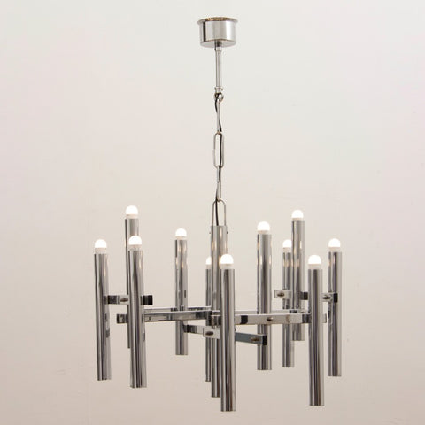 1970s Abstract Italian Sciolari Twelve-Arm Chrome Hanging Light
