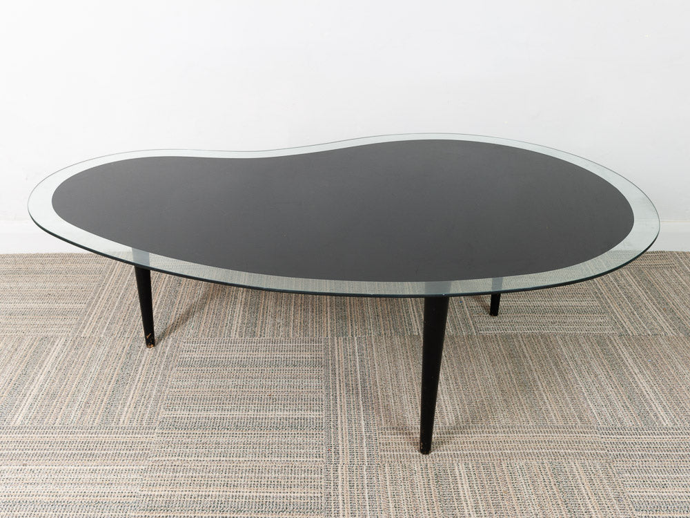 Vintage Amoeba Or Kidney Shaped Black And Clear Glass Coffee Table