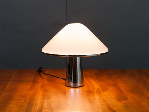 1970s iGuzzini Chrome and Lucite Mushroom Table Lamp